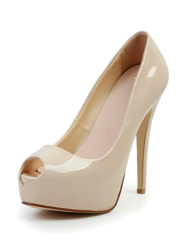 Stiletto Heel Patent Leather Peep Toe Platform High Heels