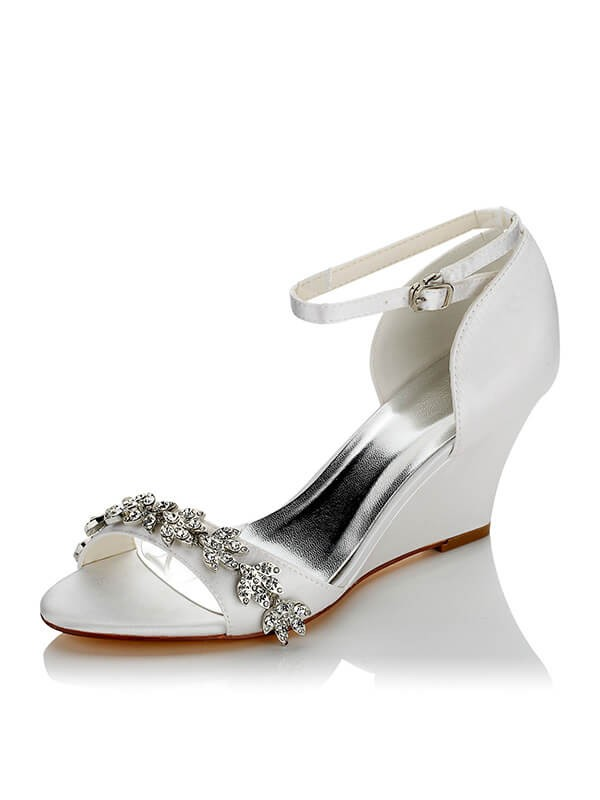 Satin PU Peep Toe Wedge Heel Wedding Shoes