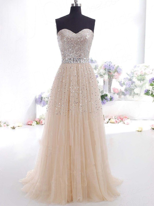 A-Line Tulle Sweetheart Brush Train Prom Dresses