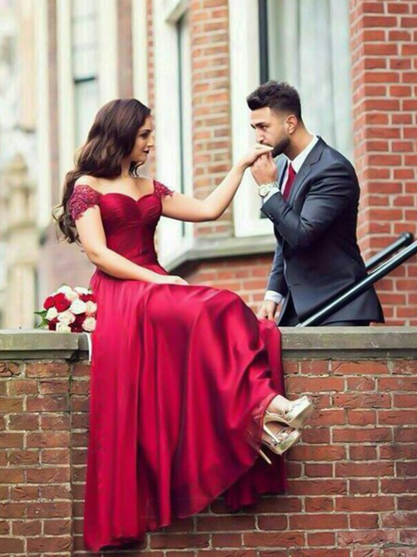 A-Line Sweetheart Sleeveless Burgundy Floor-Length Elastic Woven Satin Prom Dresses