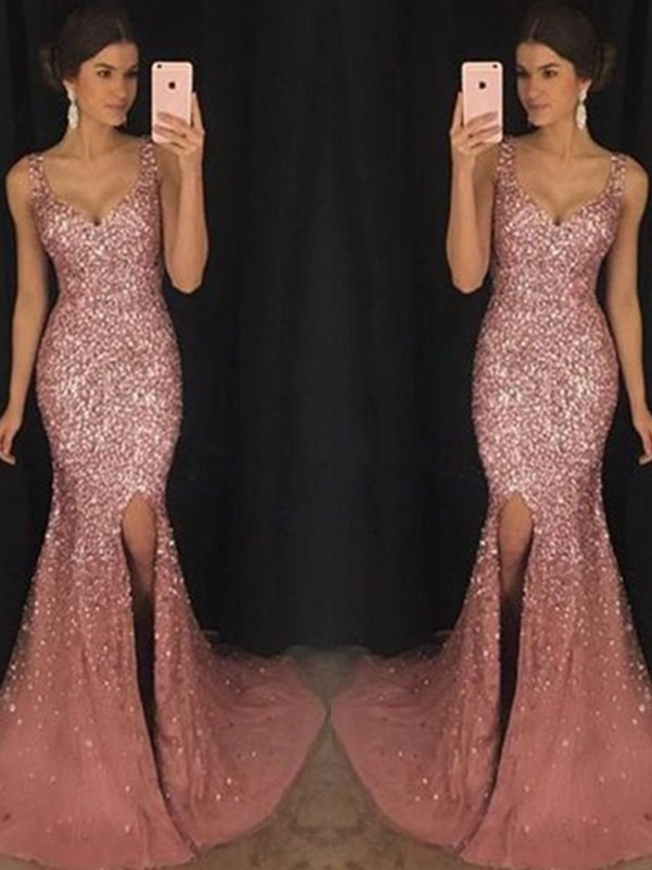 Sheath Sweetheart Sleeveless Brush Train Pink Sequin Tulle Prom Dresses