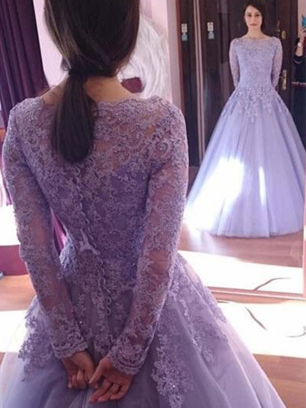 Ball Gown Jewel Long Sleeves Floor-Length Lavender Lace Tulle Prom Dresses