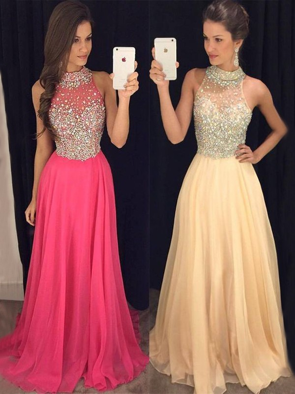 A-Line Pink Halter Sleeveless Floor-Length Beading Chiffon Prom Dresses