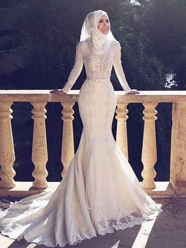 Mermaid Jewel Long Sleeves White Brush Train Lace Tulle Wedding Dresses