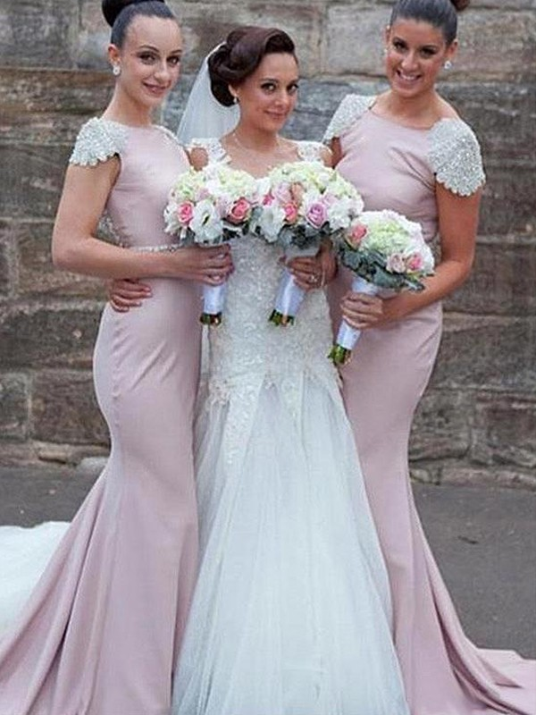 Mermaid Bateau Sleeveless Lilac Brush Train Beading Satin Bridesmaid Dresses