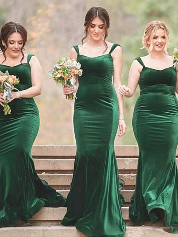 Sheath Sleeveless Ruffles Velvet Brush Train Bridesmaid Dresses