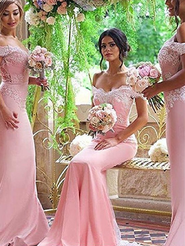 Sheath Off-the-Shoulder Satin Brush Train Lace Bridesmaid Dresses