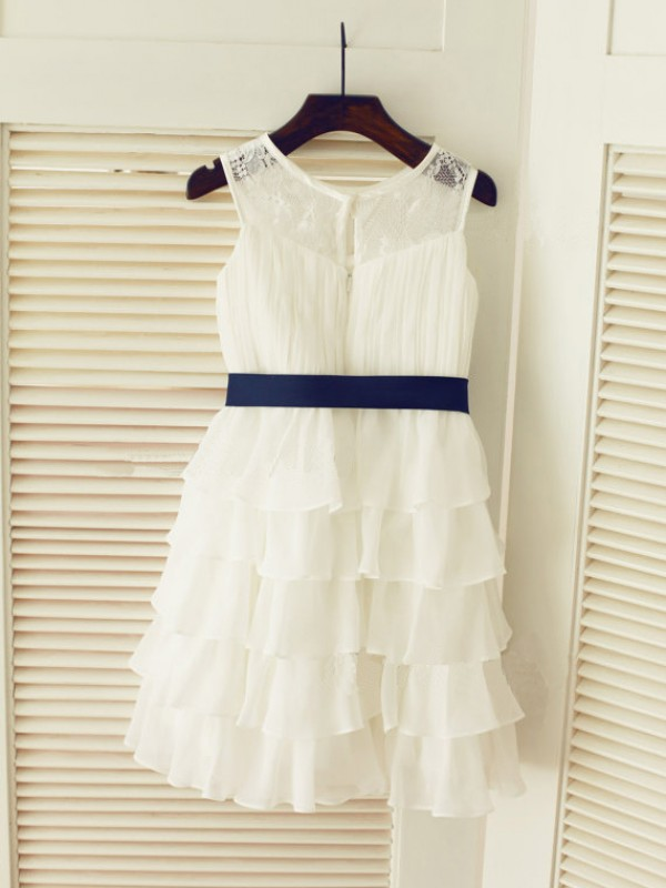 Chiffon Scoop Tea-Length White Flower Girl Dresses
