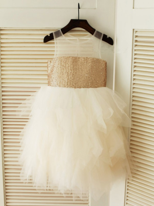 Ball Gown Scoop Tea-Length Ivory Flower Girl Dresses