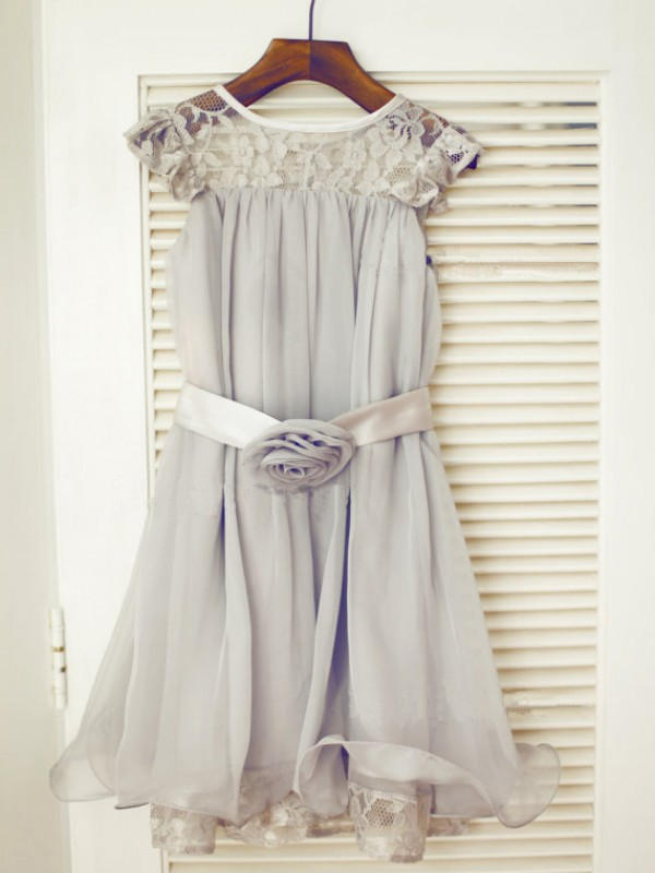 Silver A-Line Scoop Tea-Length Flower Girl Dresses with Lace
