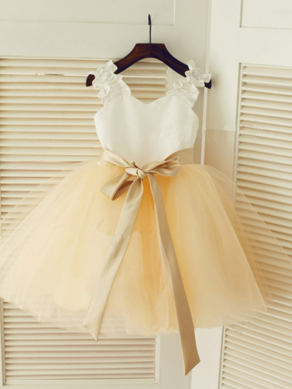 Ball Gown Tulle Straps Tea-Length White Flower Girl Dresses