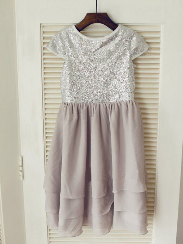 Chiffon Jewel Tea-Length Silver Flower Girl Dresses