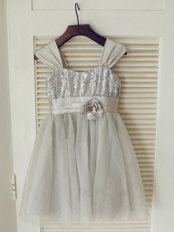 Tulle Straps Tea-Length Silver Flower Girl Dresses