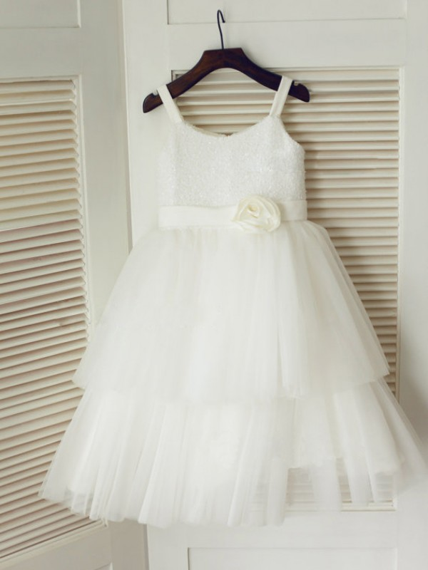 A-Line Tulle Spaghetti Straps Long Flower Girl Dresses