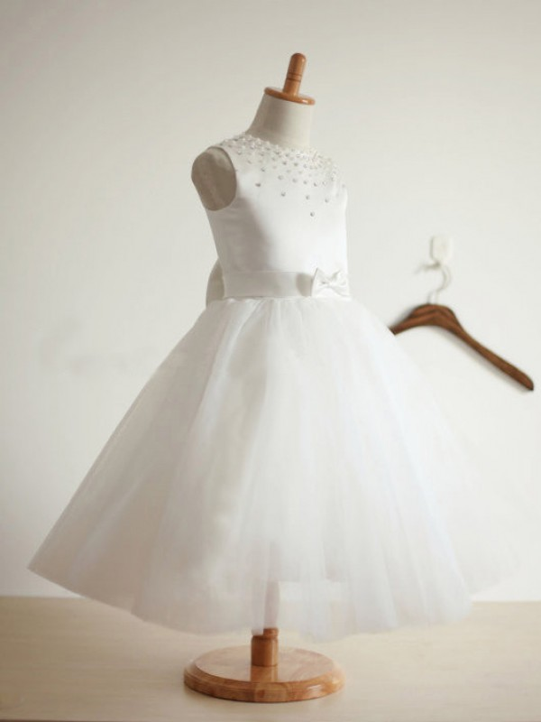 Ball Gown Jewel Tea-Length Ivory Flower Girl Dresses