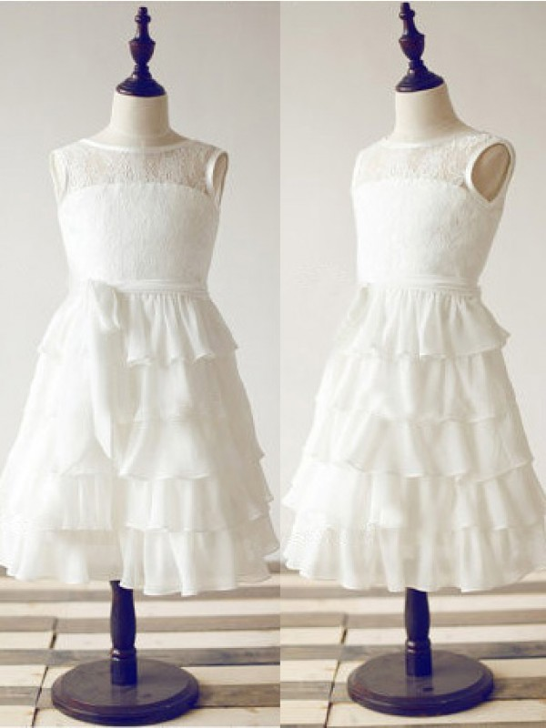 Tea-Length White Scoop Flower Girl Dresses with Lace