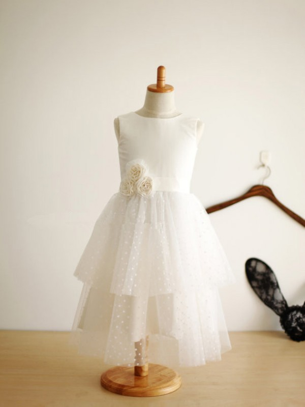 Tulle A-Line Tea-Length Jewel White Flower Girl Dresses