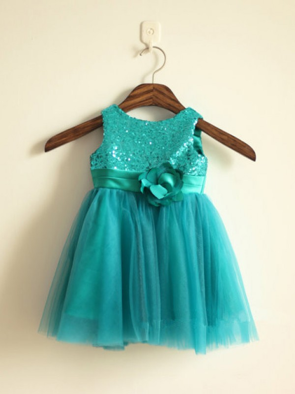 Green Scoop Tulle Knee-Length Flower Girl Dresses