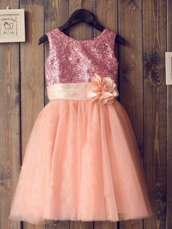 A-Line Scoop Knee-Length Orange Flower Girl Dresses