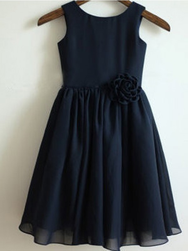 A-Line Scoop Long Dark Navy Flower Girl Dresses