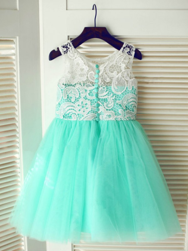 A-Line Scoop Tea-Length Blue Flower Girl Dresses