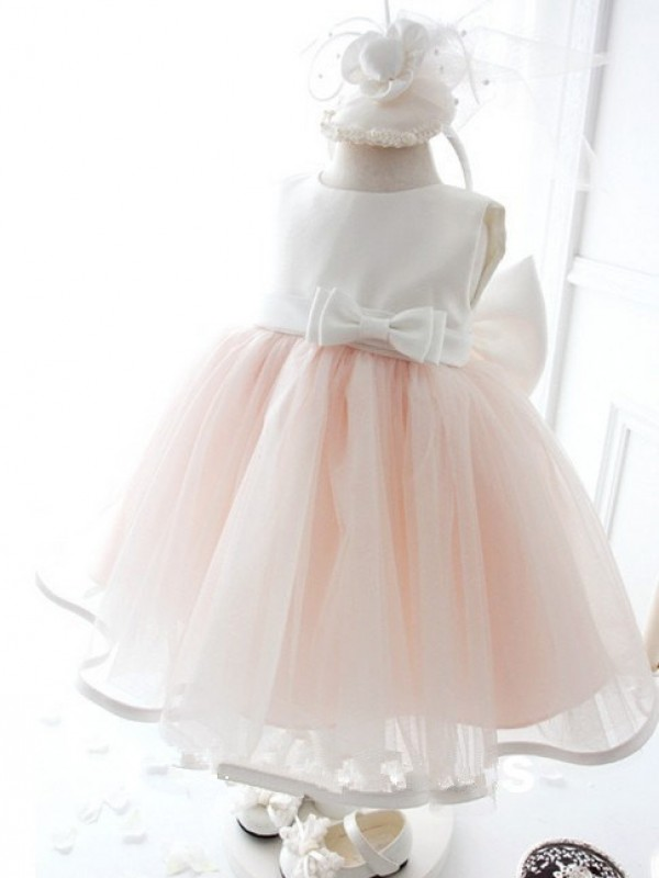 Pink Ball Gown Jewel Tea-Length Flower Girl Dresses with Bowknot