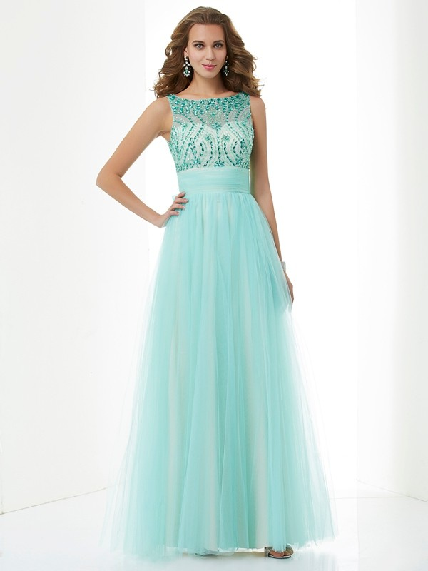 A-Line Bateau Floor-Length Green Prom Dresses with Beading