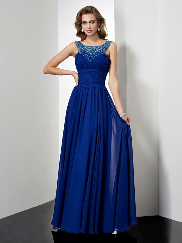 Empire High Neck Floor-Length Royal Blue Prom Dresses