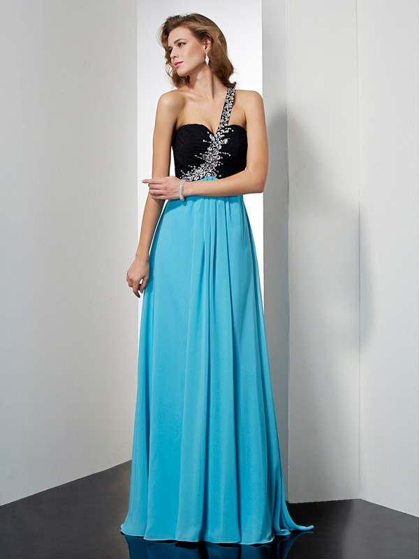 A-Line Chiffon One-Shoulder Floor-Length Blue Prom Dresses