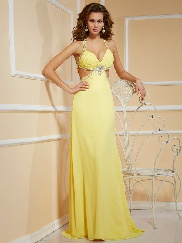 Chiffon Spaghetti Straps Floor-Length Yellow Prom Dresses
