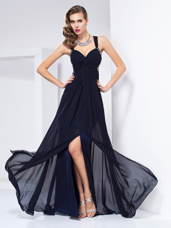 A-Line V-neck Floor-Length Dark Navy Prom Dresses with Ruffles