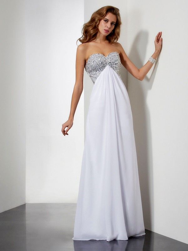 White Sheath Sweetheart Floor-Length Prom Dresses with Beading