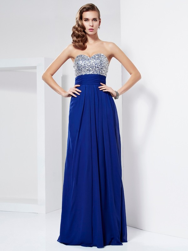 Sheath Sweetheart Long Royal Blue Prom Dresses with Rhinestone