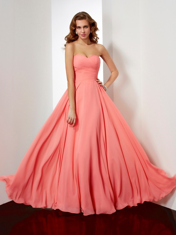 Sweetheart Floor-Length Watermelon Prom Dresses with Pleats