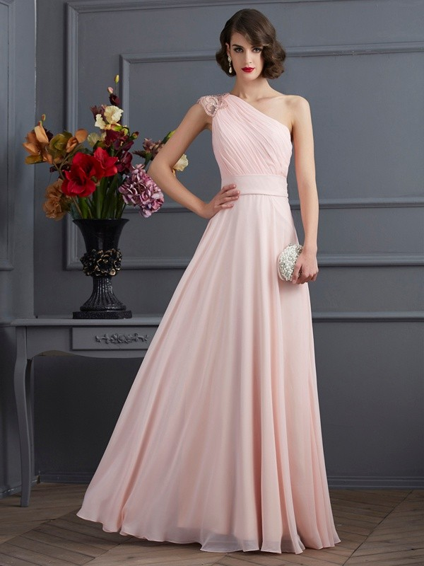 Chiffon A-Line Floor-Length One-Shoulder Pearl Pink Prom Dresses