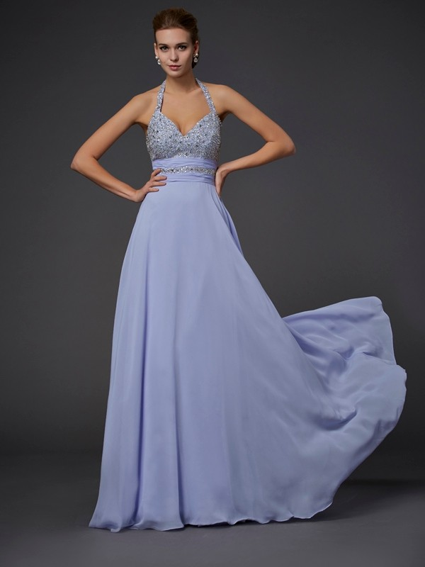 Halter Floor-Length Lavender Prom Dresses with Beading