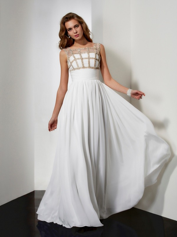 A-Line Straps Floor-Length Ivory Prom Dresses with Beading