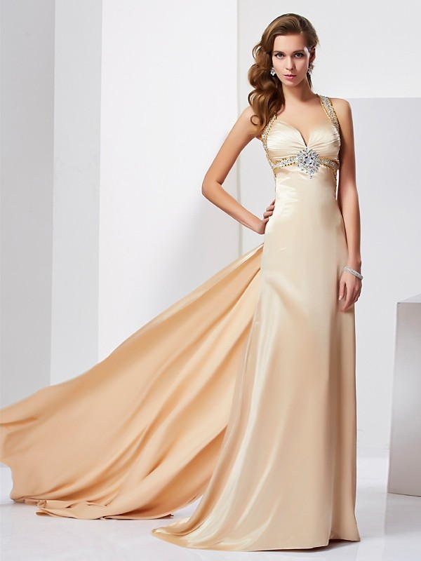 Brush Train Champagne Halter Prom Dresses with Ruffles
