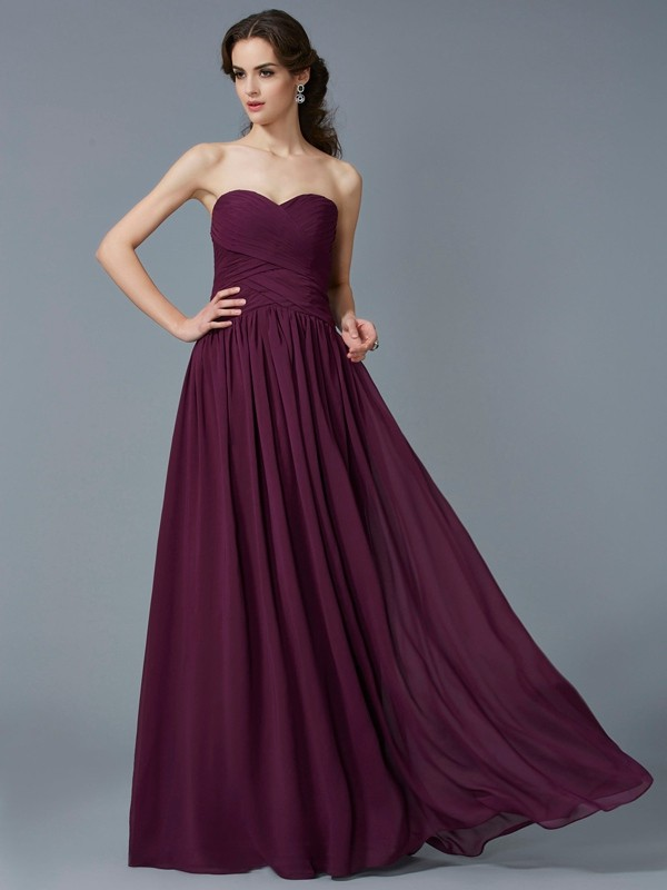 A-Line Chiffon Sweetheart Floor-Length Grape Prom Dresses