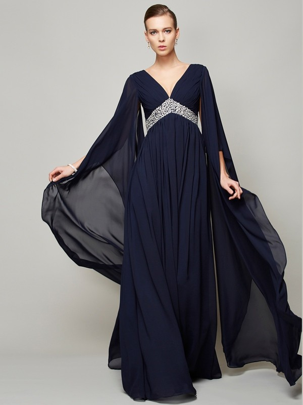 Chiffon Long Sleeves V-neck Floor-Length Dark Navy Prom Dresses