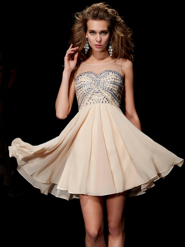 Chiffon Scoop Short/Mini Champagne Homecoming Dresses