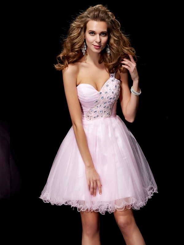 Pink A-Line One-Shoulder Short/Mini Homecoming Dresses with Beading