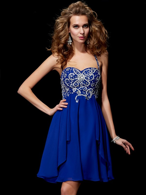 Chiffon A-Line Short/Mini Halter Royal Blue Homecoming Dresses