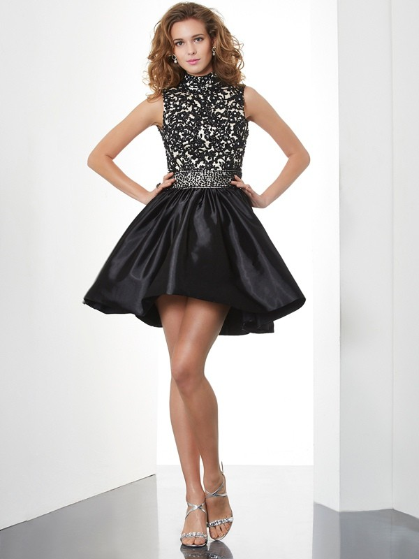 A-Line High Neck Short/Mini Black Homecoming Dresses with Beading