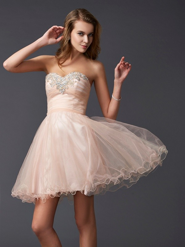 A-Line Sweetheart Short/Mini Pearl Pink Homecoming Dresses