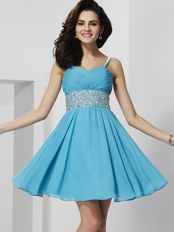 A-Line Chiffon Spaghetti Straps Homecoming Dresses with Rhinestone
