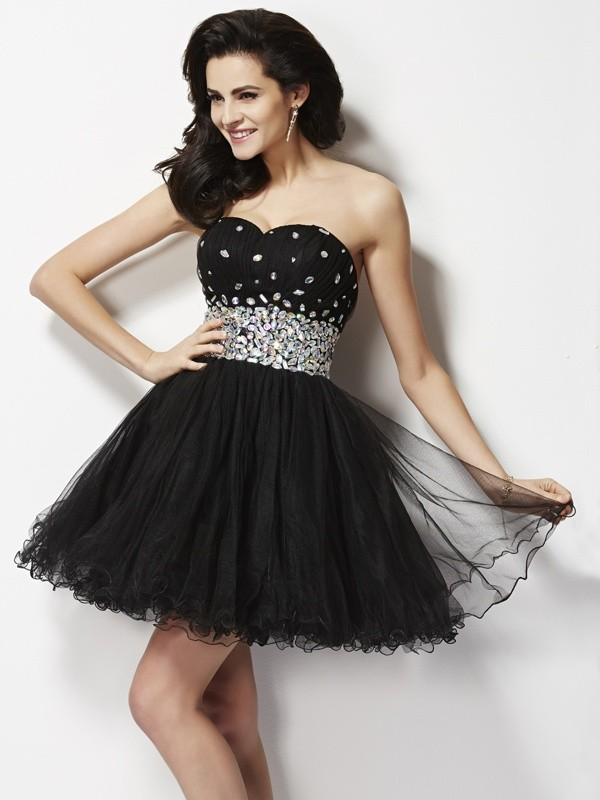 A-Line Sweetheart Short/Mini Black Homecoming Dresses