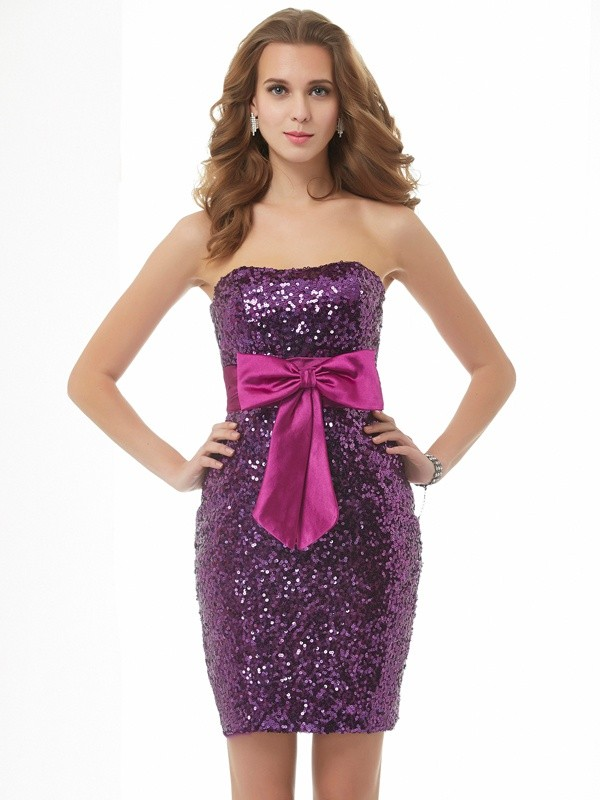 Short/Mini Fuchsia Strapless Homecoming Dresses with Bowknot