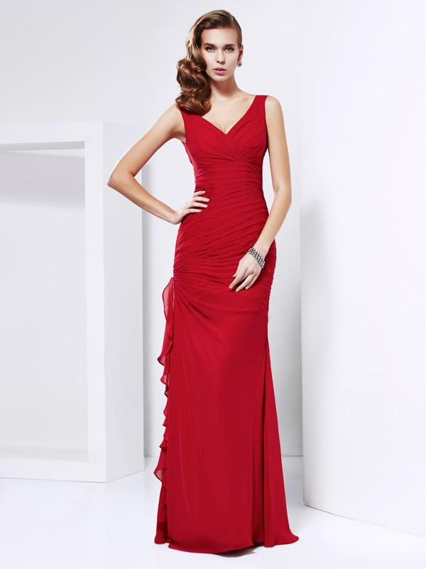 Chiffon V-neck Floor-Length Red Prom Dresses