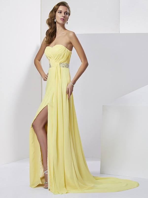 Chiffon Sheath Brush Train Sweetheart Daffodil Prom Dresses